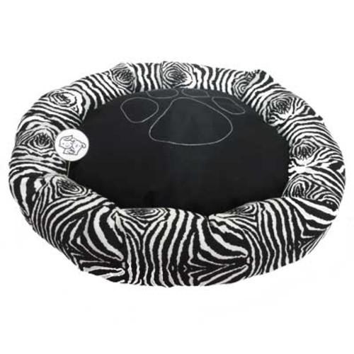 #Cama #PET redonda com linda estampa de zebra, toda preenchida com fibra siliconada e com bordado de patinha na almofada. TAMANHO: 70 cm