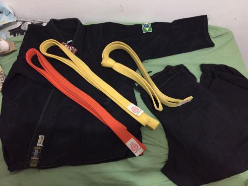Kimono trançado conjunto camisa , calça + 3 faixas