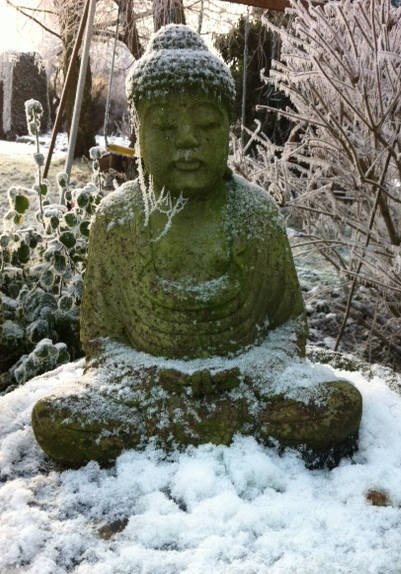 Buddha statue in winter