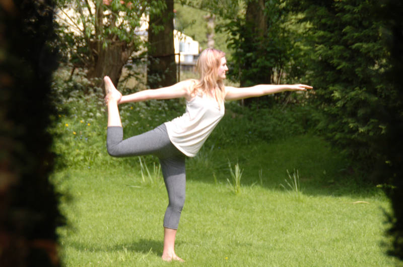 Dancer pose outdoors