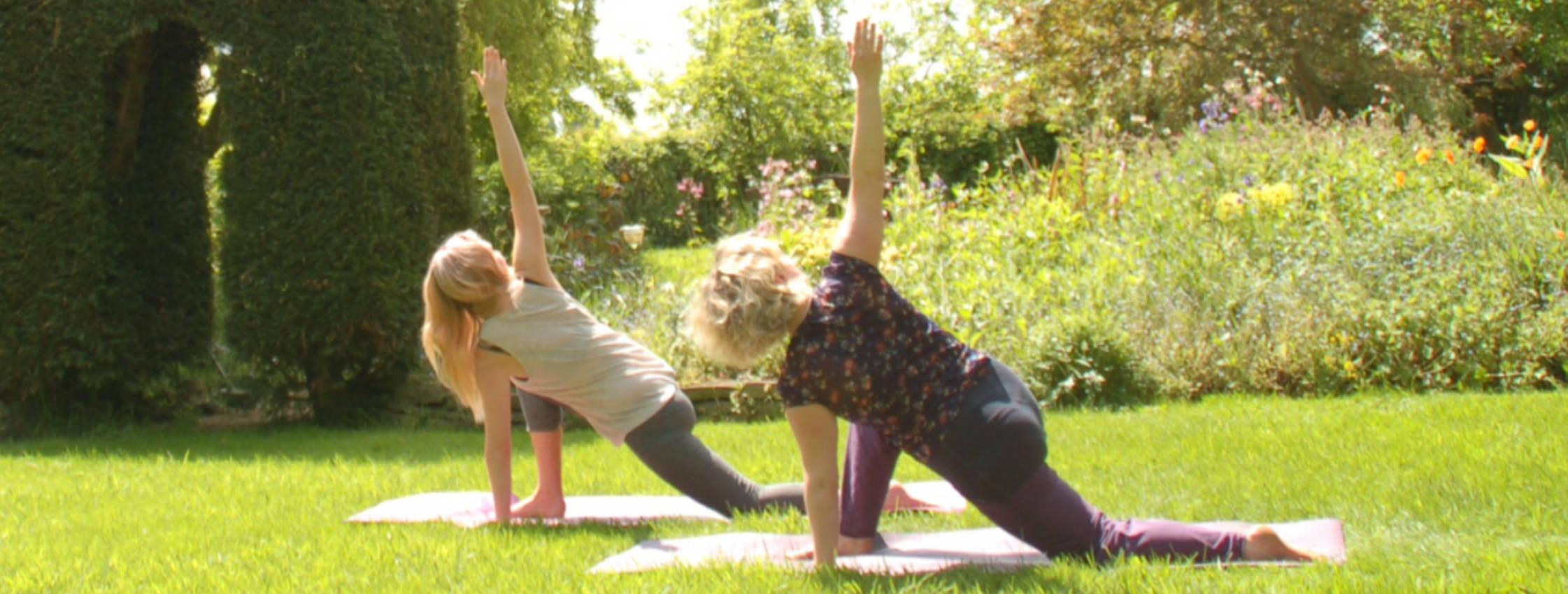 Kneeling twist in the garden