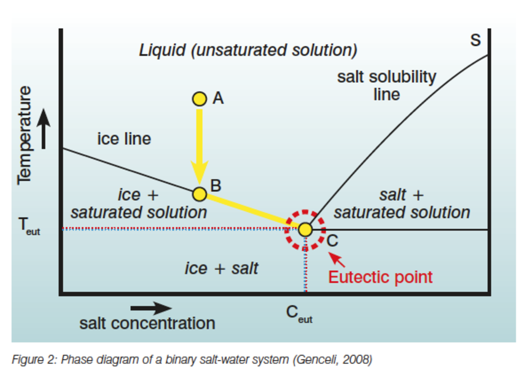 the principle of efc can be described by using a phase diagram of a binary  salt-water system  when a solution in the unsaturated area with a  concentration
