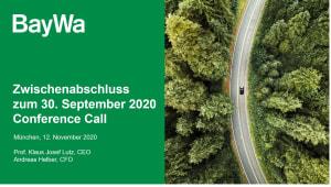 Präsentation zum Conference Call Q3 2020