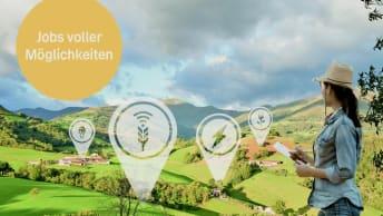 Landschaftsbild mit grafischen Elementen, die die Tätigkeitsgebiete der BayWa symbolisieren