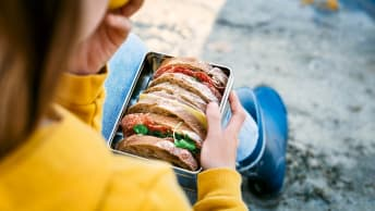 Child with lunch box