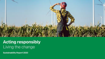 The picture shows the cover of the Sustainability Report 2020