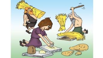 Verarbeitung des Weizen erfolgte in der Jungsteinzeit noch per Hand und mit Hilfe von Steinen.