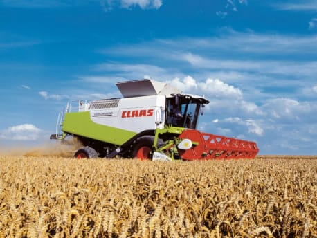 Claas combine harvester at the harvest