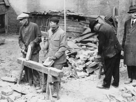 Workers in reconstruction after the Second World War