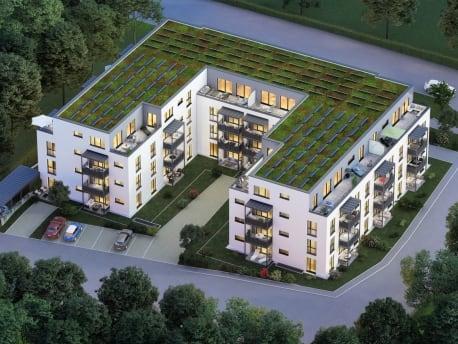 Mehrfamilienhaus mit Dachbegrünung und Photovoltaikanlagen