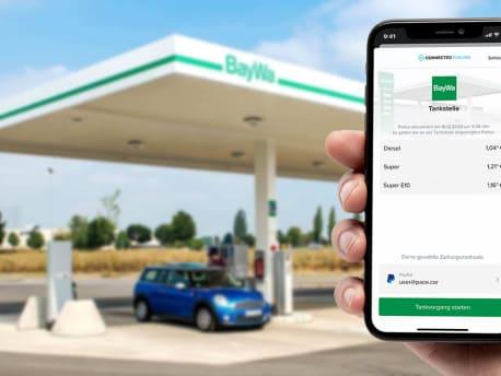 """Screenshot der """"PACE Drive App"""" an BayWa Tankstelle"""