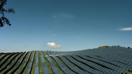Solarpanels auf dem Feld