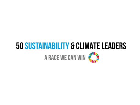 The picture shows the logo of the 50 Sustainability & Climate Leaders