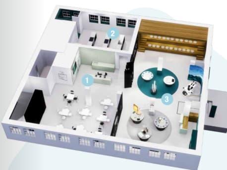 Der Indoor-Bereich gliedert sich in drei Areale auf, außerdem gibt es auch einen Außenbereich.