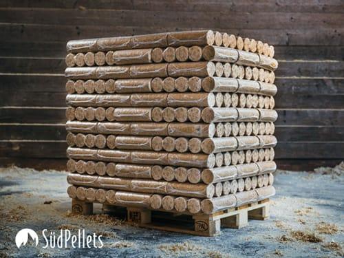 Holzbriketts rund ohne Loch Palette