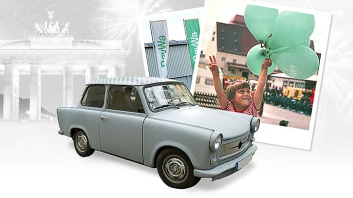 Collage from Trabi and a poster with a child