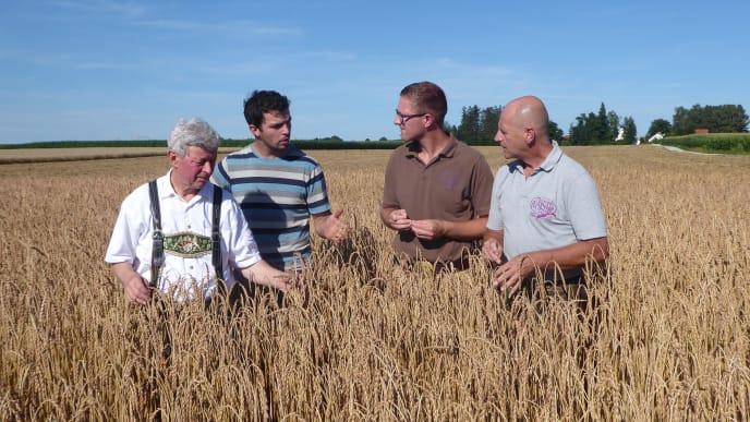 Die Biobauern Franz und Sebastian Brandl mit den Bäckermeistern Martin und Bastian Brugger