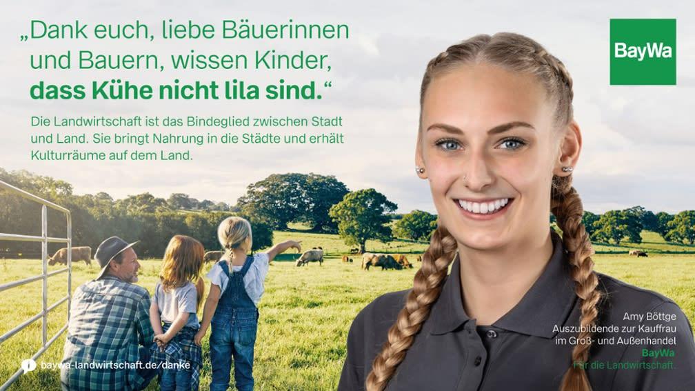 Amy sagt DANKE: Die Landwirtschaft bringt Nahrung in die Städte und erhält Kulturräume auf dem Land.