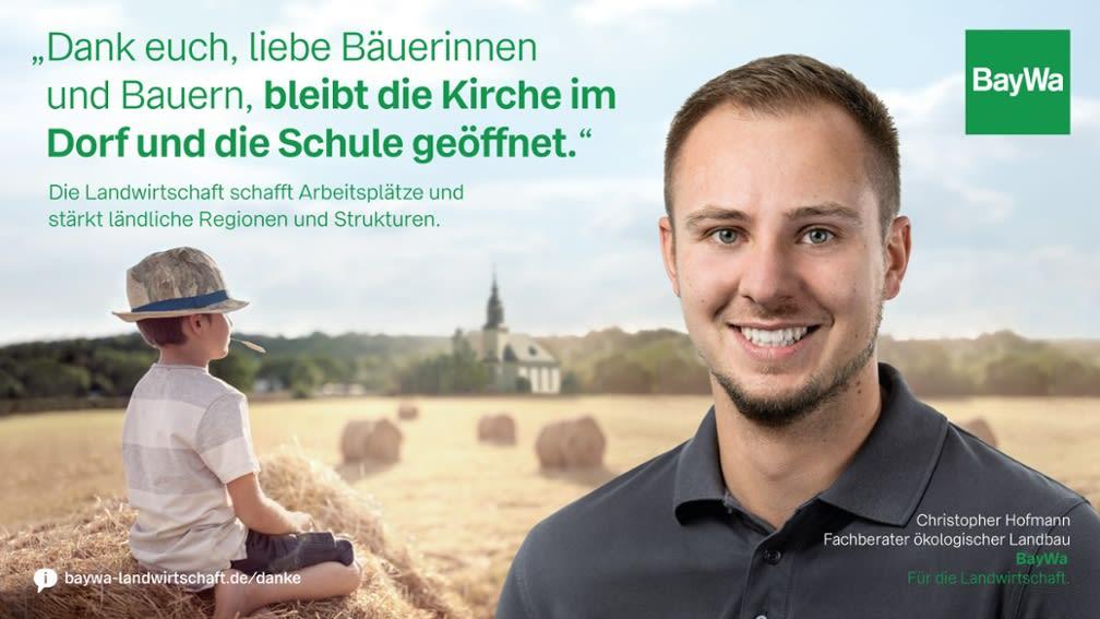 Christopher sagt DANKE: Die Landwirtschaft schafft Arbeitsplätze und stärkt den ländlichen Raum.