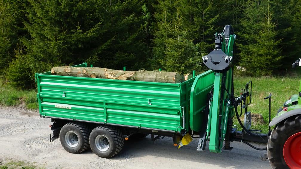 Reisch Tandem-Dreiseiten Kipp-Anhänger mit Forstkran