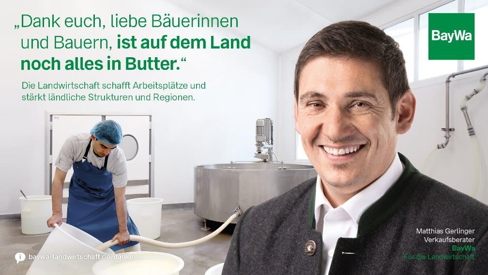 Matthias sagt DANKE: Alles in Butter, denn die Landwirtschaft schafft Arbeitsplätze und stärkt ländliche Regionen.