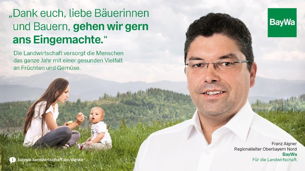 Franz sagt DANKE! Die Landwirtschaft versorgt Menschen mit gesunder Vielfalt an Früchten und Gemüse.
