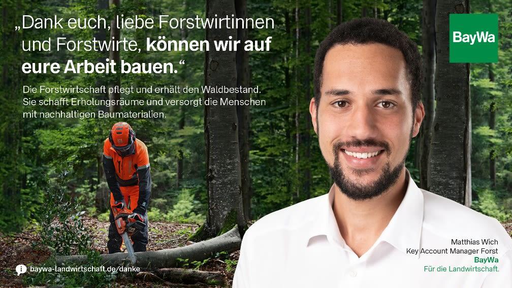 Matthias sagt DANKE: Die Forstwirtschaft schafft Erholungsräume und versorgt die Menschen mit nachhaltigen Baumaterialien.