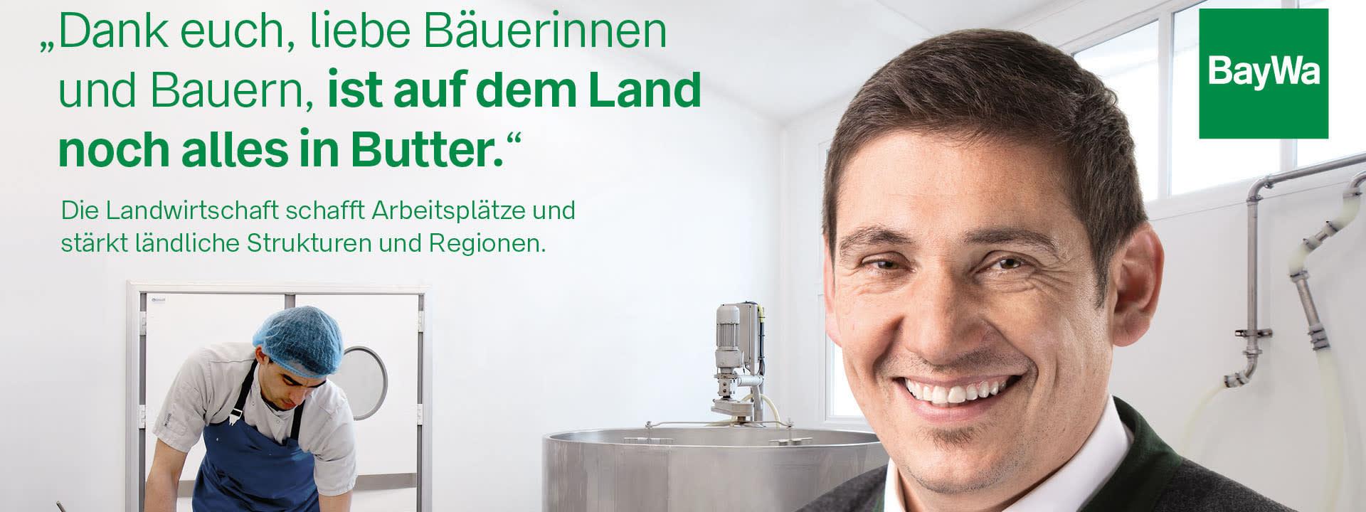 Johann sagt DANKE: Die Landwirtschaft übernimmt Verantwortung in der Gesellschaft und versorgt diese mit frischen Lebensmitteln.