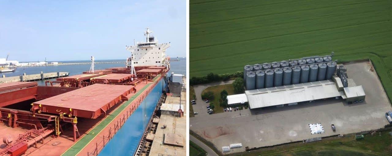 Collage mit Schiff und Getreidespeicher