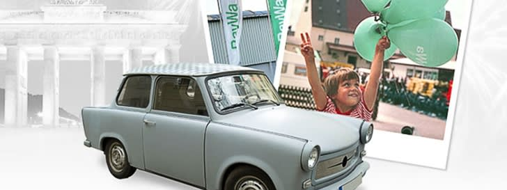 Collage Trabi and a poster with child