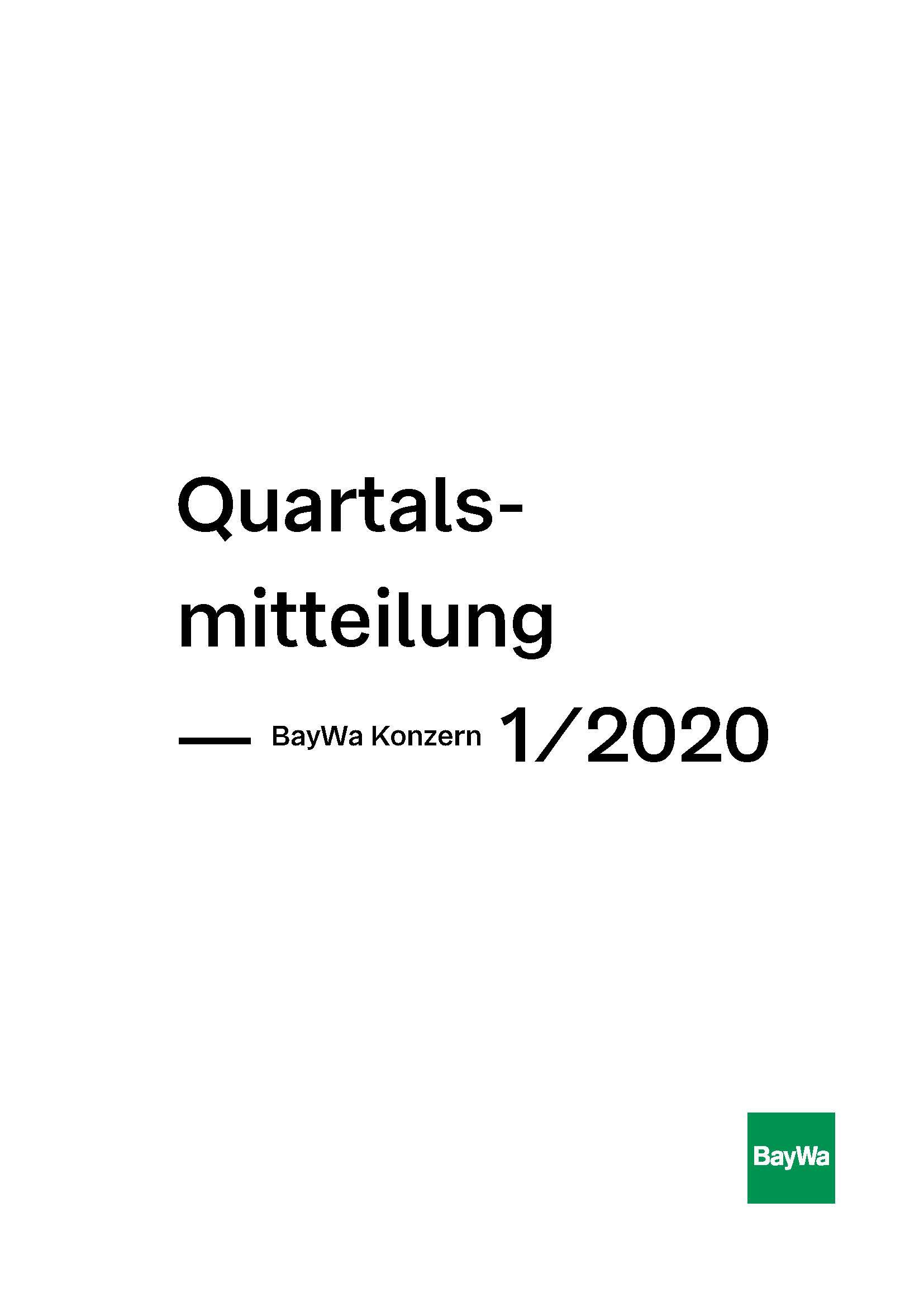 Quartalsmitteilung Q1 2020