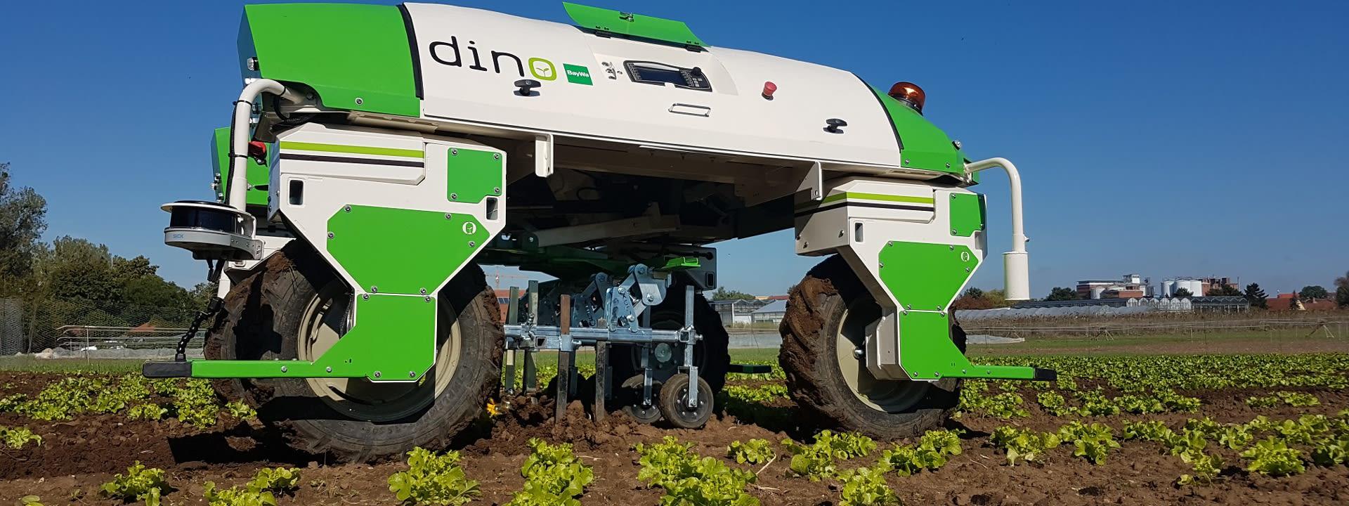 Roboter Dino auf dem Feld
