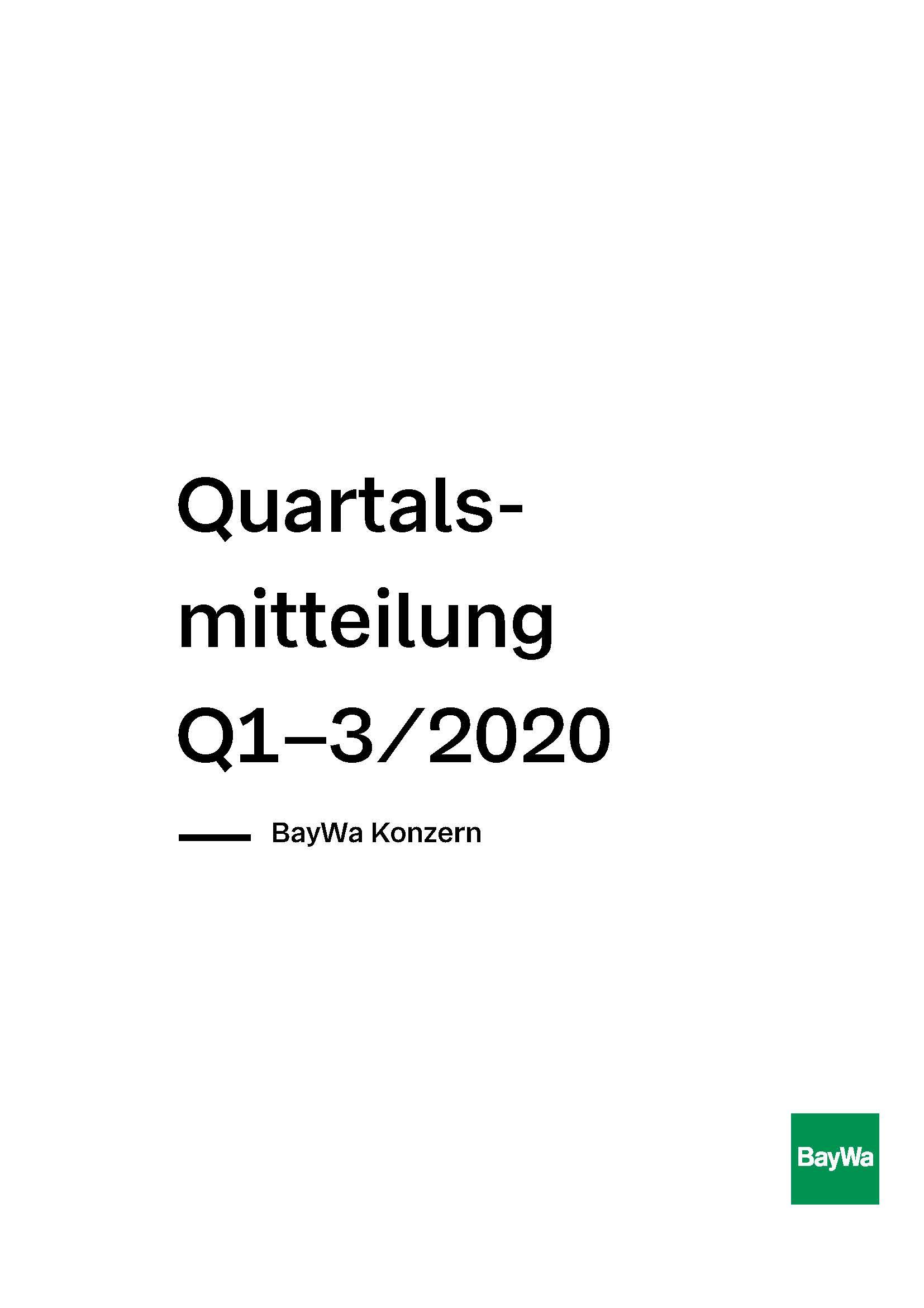 Quartalsmitteilung Q3 2020