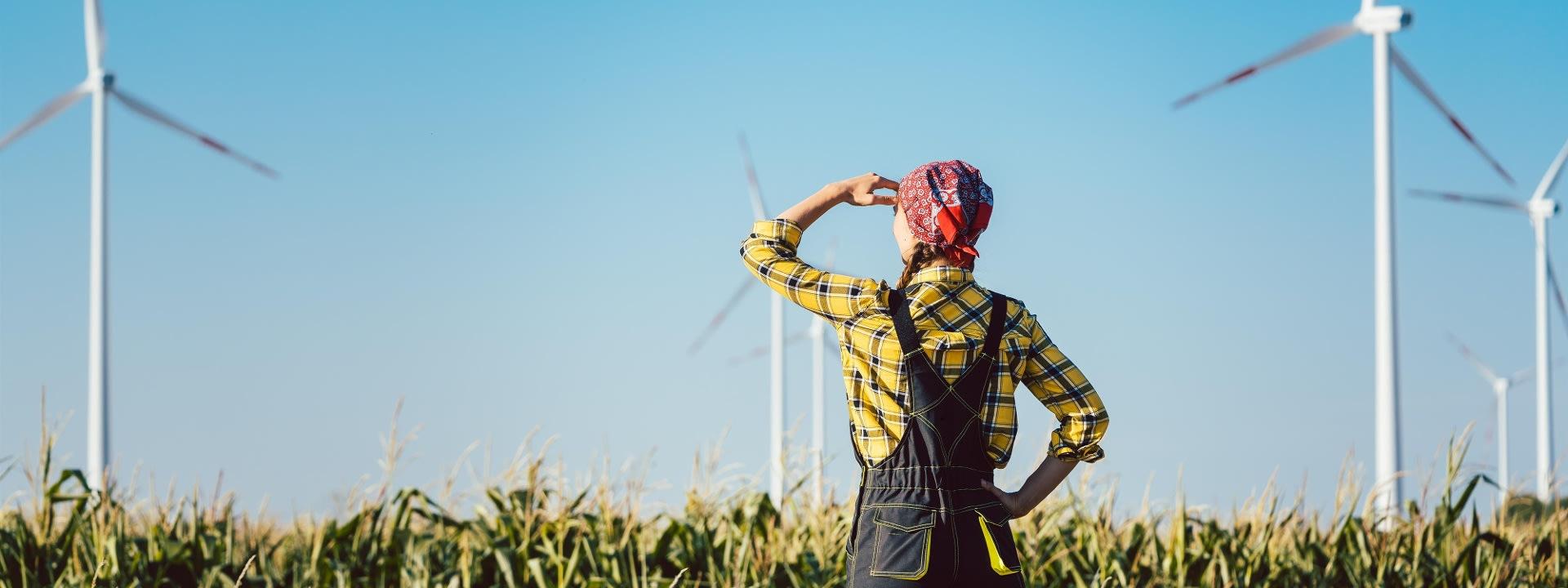 Frau im Feld mit Fernblick
