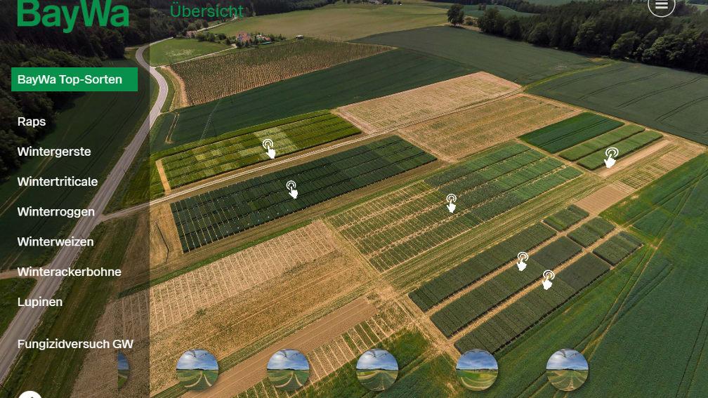 Bildschirmansicht: ein virtuelles, sehr detailreiches Bild der diesjährigen Pflanzenbauversuche in Gründl bei Landshut