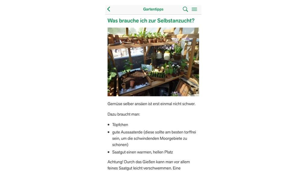 Kostenlose App Essen+Wissen - Urban Gardening und Gärtnern mit Kindern