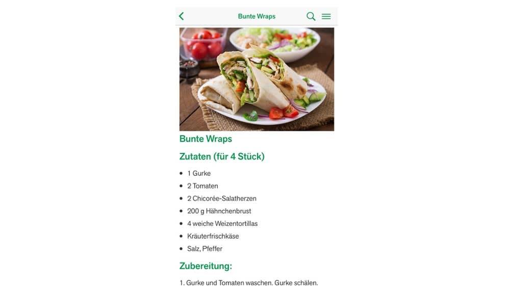 Kostenlose App Essen+Wissen - Rezepte und gesunde Ernährung für Kinder