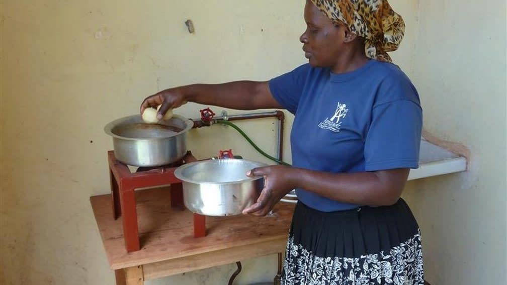 Kochen mit erneuerbarer Energie aus der Biogasanlage.