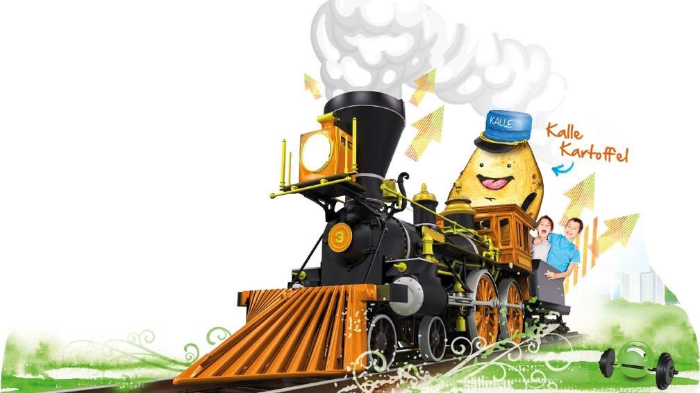 Kalle Kartoffel auf seiner Lok
