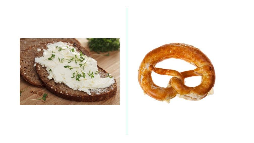 Vollkornbrot mit Käse oder Butterbreze