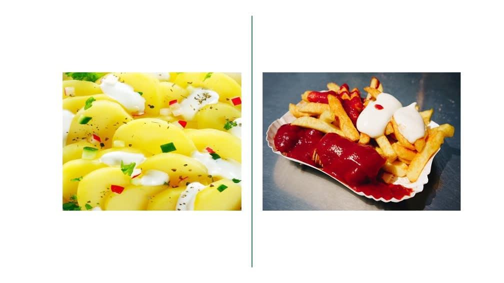 Kartoffel mit Kräuterquark oder Pommes mit Ketchup