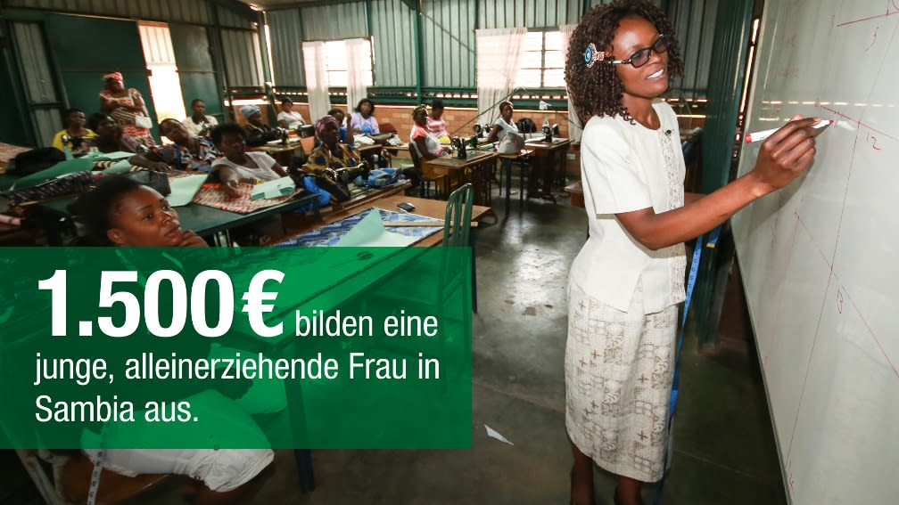 1.500 € bilden eine junge, alleinerziehende Frau in Sambia aus