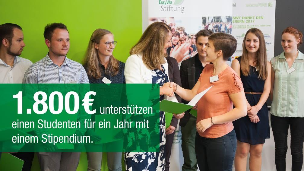 1.800 € unterstützen einen Studenten für ein Jahr mit einem Stipendium