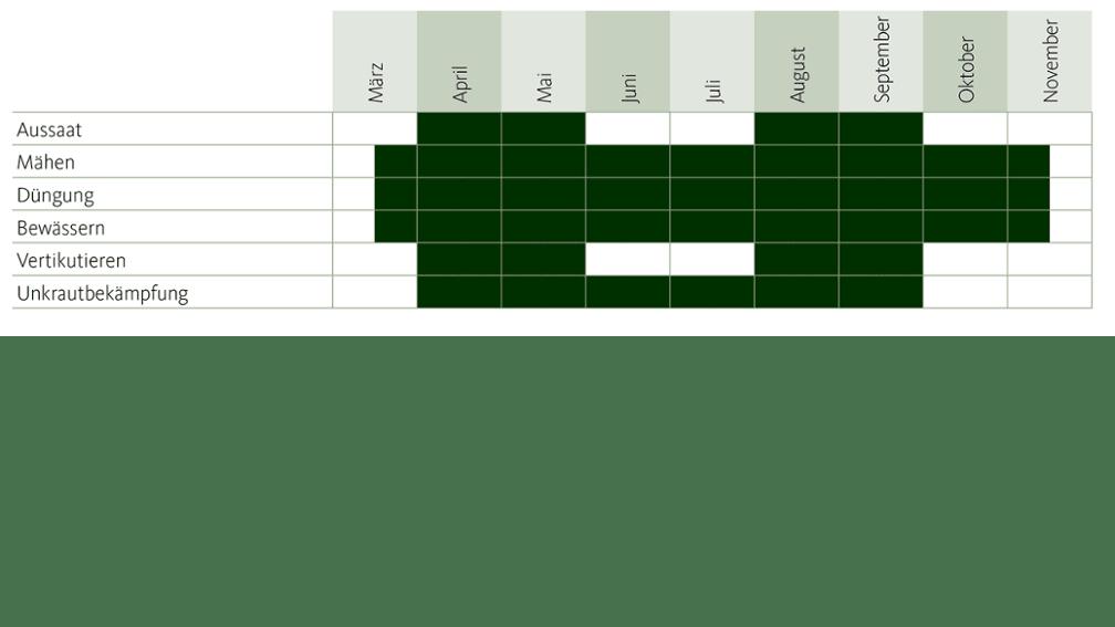 Tabelle Jahresverlauf Rasen