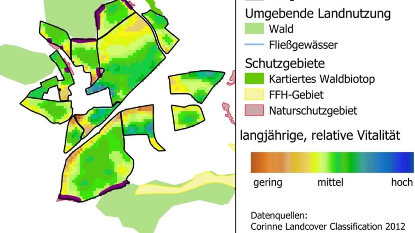 Die satellitenbasierte Karte zeigt, welche Teilflächen für die Aussaat von Blühstreifen geeignet sind.