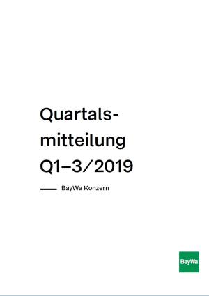 Quartalsmitteilung Q3 2019