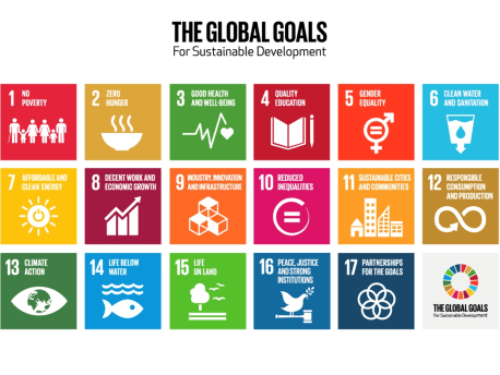Bild zeigt die siebzehn SDGs