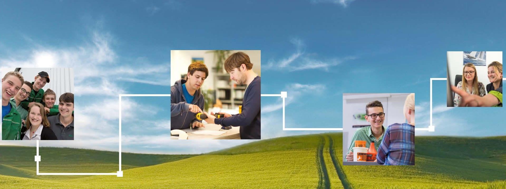 Keyvisual BayWa Ausbildung: Himmel unf Felder als Hintergrundbild, darauf verschiedene kleine Bilder mit Auszubildenden