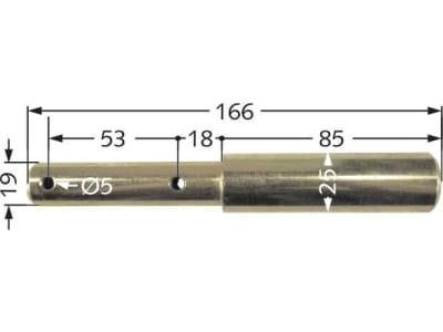 Oberlenker-Stufenbolzen Kat. 1/2, 166 mm x 19 mm; 25 mm