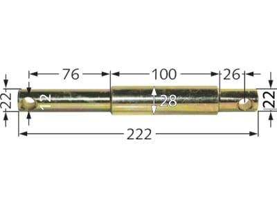 Unterlenker-Stufenbolzen Kat. 1/2, Länge 222 mm, Ø 22 mm; 28 mm; 22 mm
